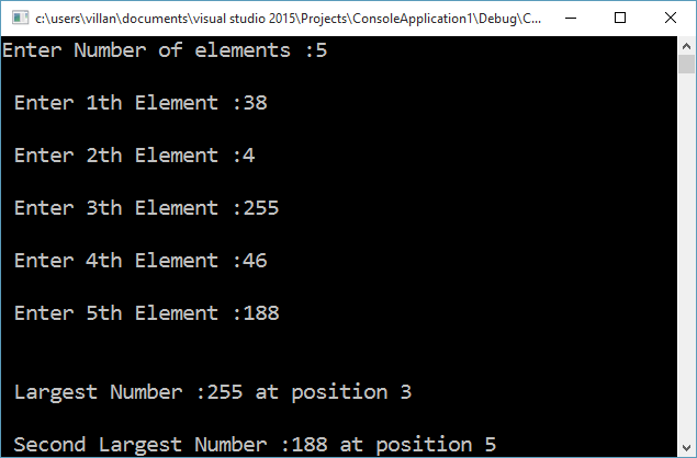 C++ program to find the largest and second largest number